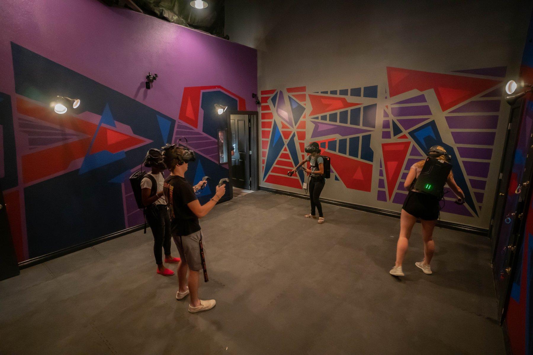 VR customers in empty room